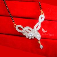 S62P, Daphne Zircon Leaf Sleek Art Mangalsutra Pendent For Women