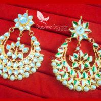 KE30 Bollywood Fashion Gold Plated Kundan Earrings For Women-Back view