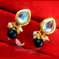 KE66, Daphne Black Leaf Shape Kundan Tops Diwali Special For Women