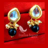 KE66, Daphne Black Leaf Shape Kundan Tops Diwali Special For Women-view2