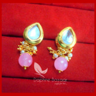 KE67, Daphne Baby Pink Leaf Shape Kundan Tops Diwali Special For Women