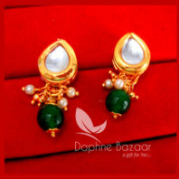 KE68, Daphne Green Leaf Shape Kundan Tops Diwali Special For Women