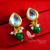 KE68 Daphne Green Leaf Shape Kundan Tops Diwali Special For Women