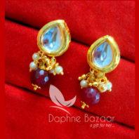 KE69 Daphne Maroon Leaf Shape Kundan Tops Diwali Special For Women-view2