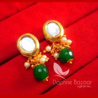 KE70 Daphne Green Oval Shape Kundan Tops Diwali Special For Women