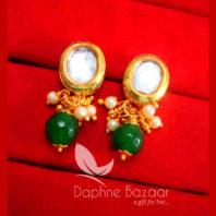 KE70 Daphne Green Oval Shape Kundan Tops Diwali Special For Women-view2