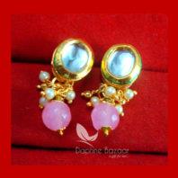 KE72 Daphne Baby Pink Oval Shape Kundan Tops Diwali Special For Women
