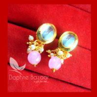 KE72 Daphne Baby Pink Oval Shape Kundan Tops Diwali Special For Women-view2