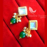 KE73 Daphne Green Square Shape Kundan Tops Diwali Special For Women