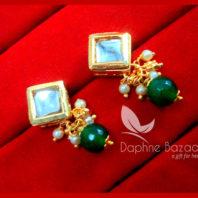KE73 Daphne Green Square Shape Kundan Tops Diwali Special For Women-view2