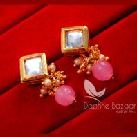 KE74 Daphne Baby Pink Square Shape Kundan Tops Diwali Special For Women