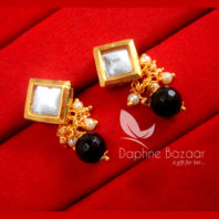 KE75 Daphne Black Square Shape Kundan Tops Diwali Special For Women