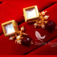 KE76 Daphne Maroon Square Shape Kundan Tops Diwali Special For Women
