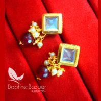 KE76 Daphne Maroon Square Shape Kundan Tops Diwali Special For Women-view2