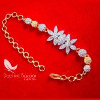 BR57 Daphne Zircon Flora Gold plated Bracelet For Thanksgiving Celebration