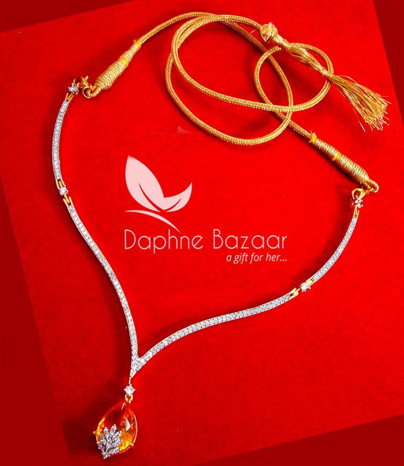 CBU35, Super Saver Four Items Zircon Amber Party Wear Necklace