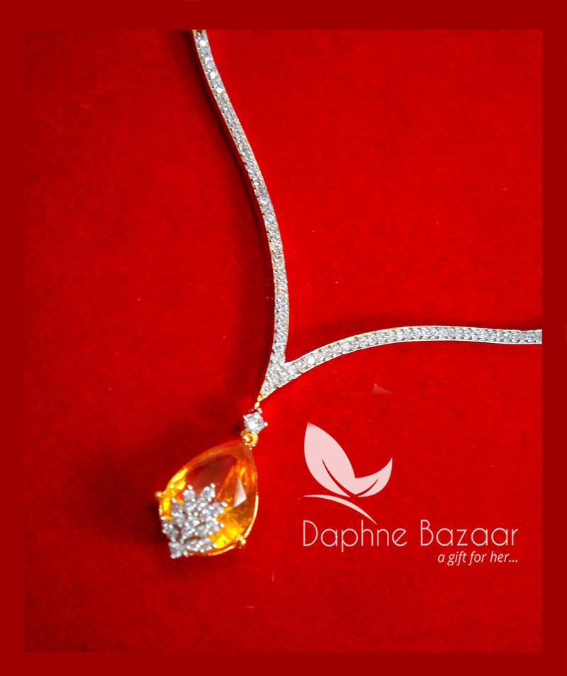 CBU35, Super Saver Four Items Zircon Amber Party Wear Necklace-1