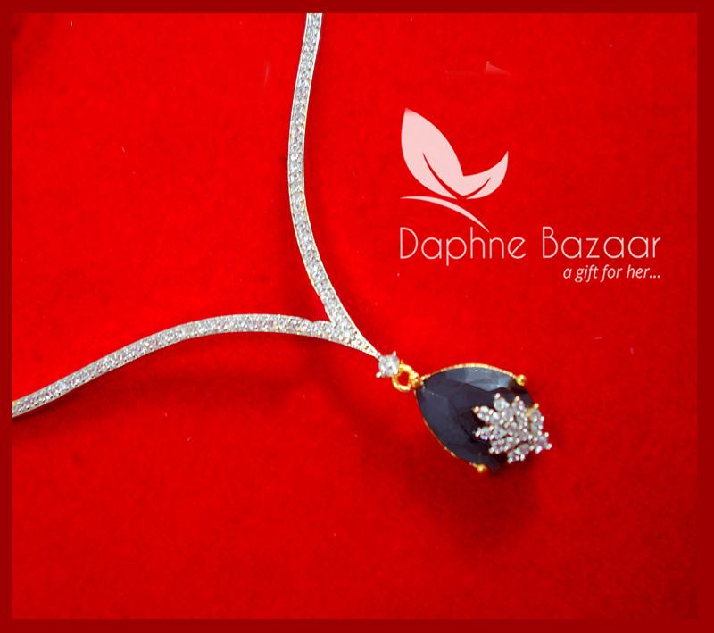 CBU36, Super Saver Four Items Zircon Navy Blue Party Wear Necklace -1