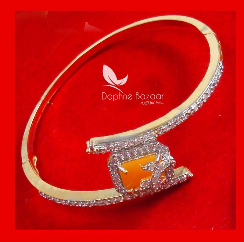 CBU38, Super Saver Four Items Zircon Neon Orange Party Wear Bracelet Thanksgiving Celebration