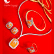 CBU38, Super Saver Four Items Zircon Neon Orange Party Wear Necklace Earrings with Ring and Bracelet Thanksgiving Celebration -2