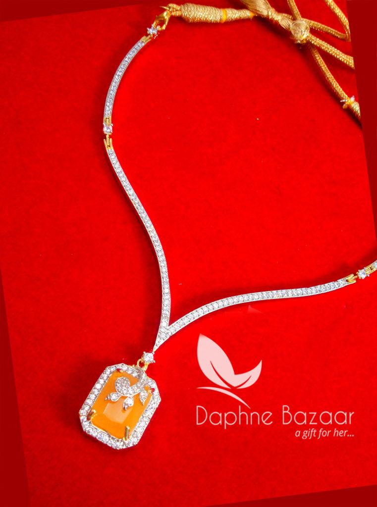 CBU38, Super Saver Four Items Zircon Neon Orange Party Wear Necklace Thanksgiving Celebration
