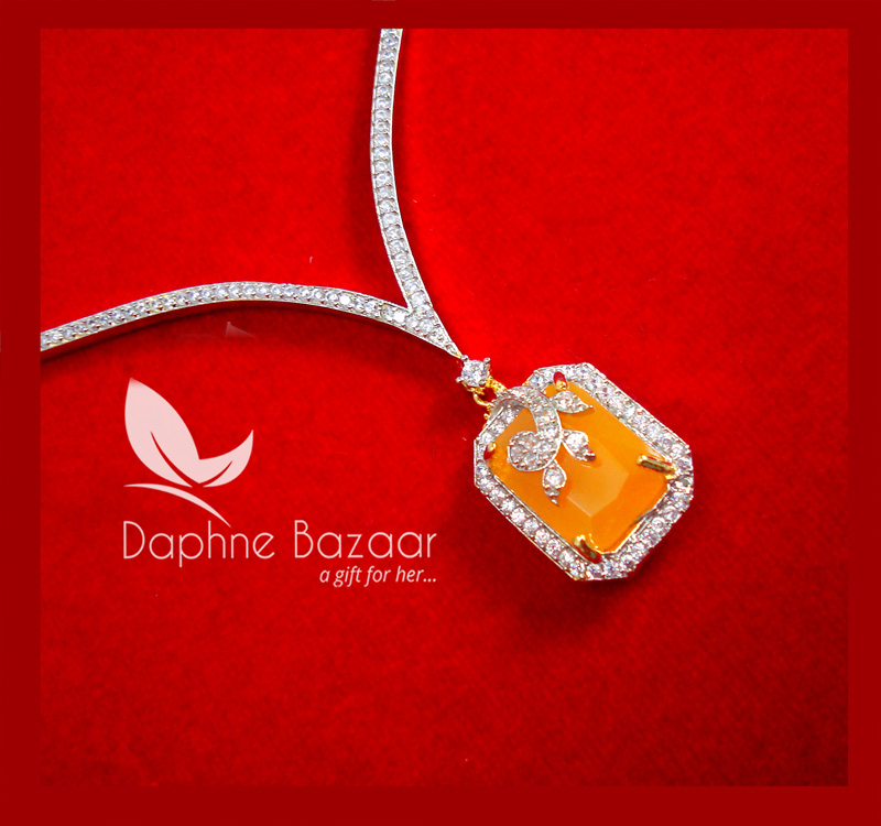 CBU38, Super Saver Four Items Zircon Neon Orange Party Wear Necklace Thanksgiving Celebration-1