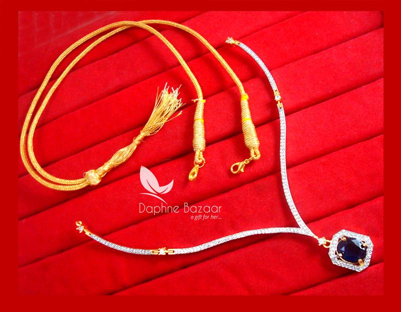 CBU45, Super Saver Four Items Zircon Navy Blue Party Wear Necklace