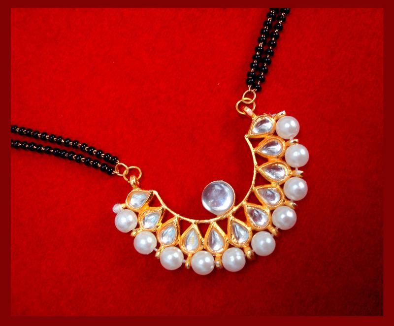 HC33P, Daphne Golden Kundan Pearl Mangalsutra for Women Thanksgiving Celebration-2