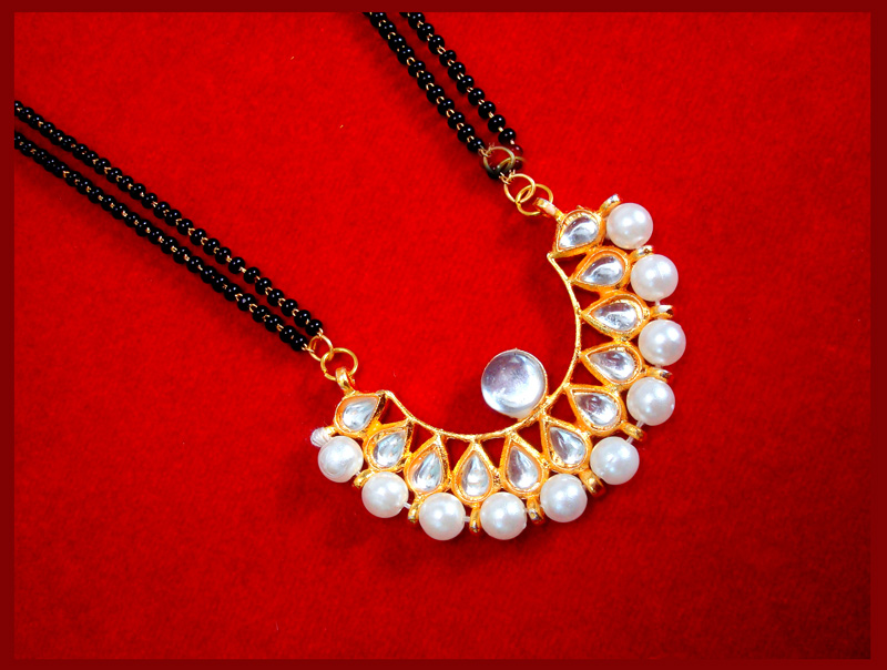 HC33P, Daphne Golden Kundan Pearl Mangalsutra for Women Thanksgiving Celebration