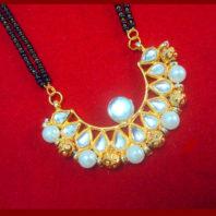 HC34P, Daphne Golden Kundan Pearl Mangalsutra for Women Thanksgiving Celebration-1