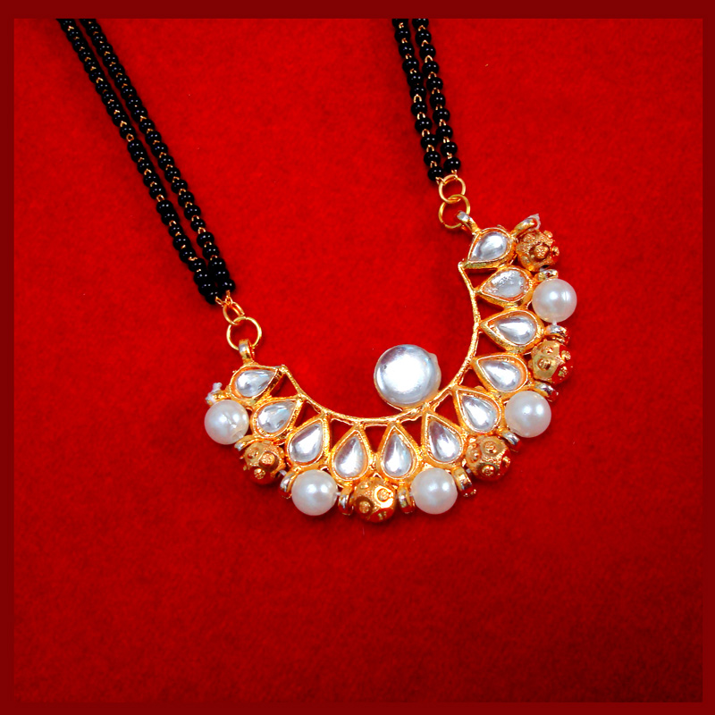 HC34P, Daphne Golden Kundan Pearl Mangalsutra for Women Thanksgiving Celebration
