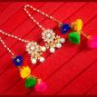 KE78, Bollywood Fashion Gold Plated Kundan Pearl with Pom Pom Earring For Women-1