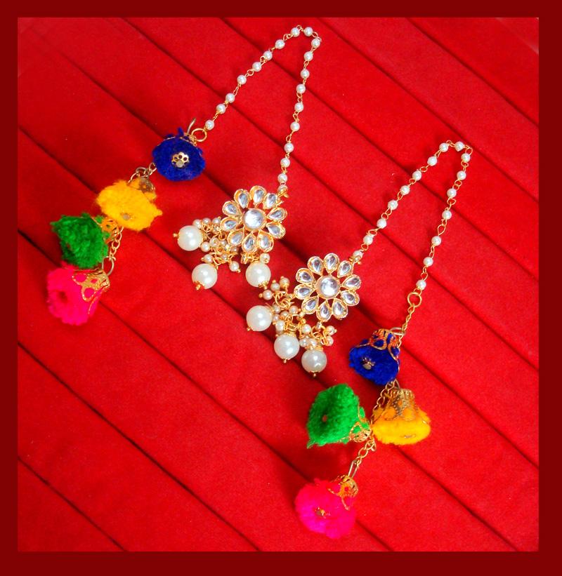 KE78, Bollywood Fashion Gold Plated Kundan Pearl with Pom Pom Earring For Women-2