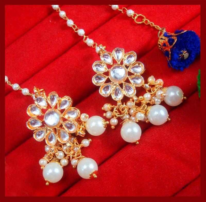KE78, Bollywood Fashion Gold Plated Kundan Pearl with Pom Pom Earring For Women-3 (2)