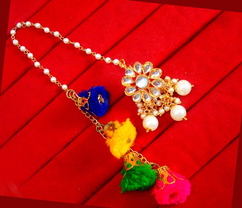 KE78, Bollywood Fashion Gold Plated Kundan Pearl with Pom Pom Earring For Women