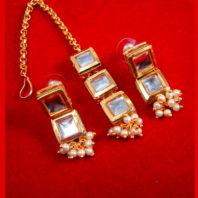 KE79, Daphne Traditional Kundan Carving Maang Tikka With Earrings For Women-2