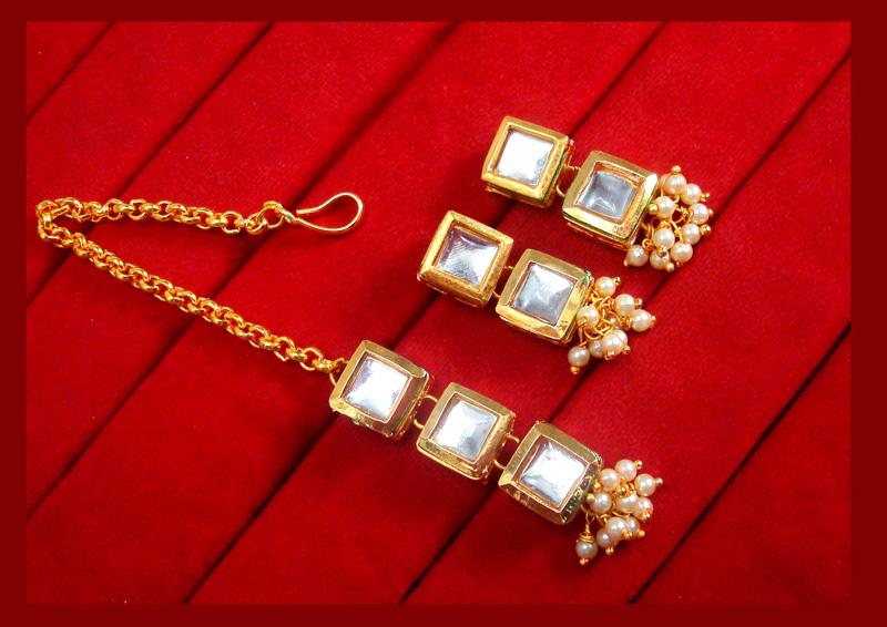 KE79, Daphne Traditional Kundan Carving Maang Tikka With Earrings For Women-3