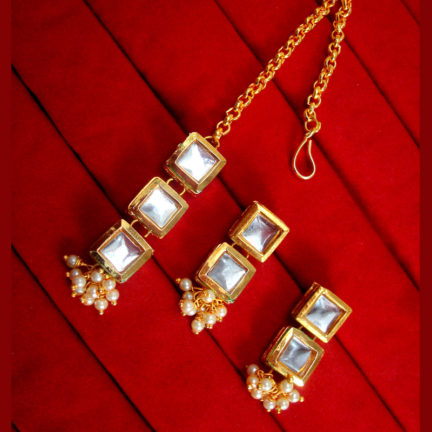 KE79, Daphne Traditional Kundan Carving Maang Tikka With Earrings For Women
