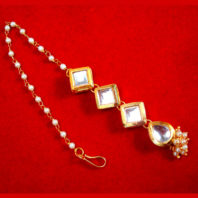 MAG67 Daphne Traditional Kundan and Pearl Carving Maang Tikka for Wedding Events-1