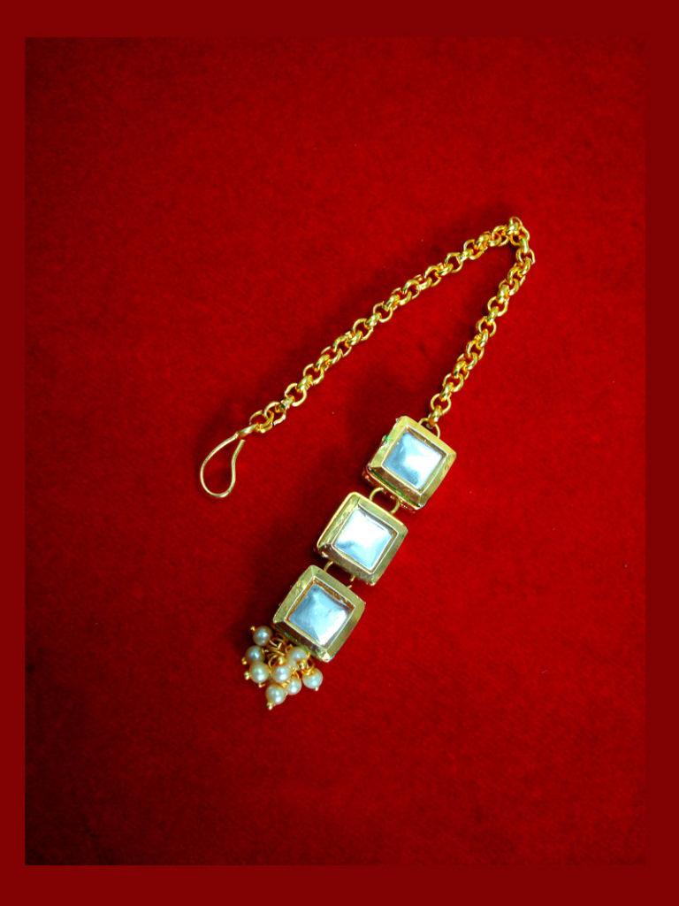 MAG68 Daphne Traditional Kundan Carving Maang Tikka with Pearls for Xmas Special-1