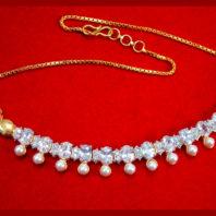NC31 Daphne Pretty Zircon Golden White Stone Necklace for Women For Xmas Gift-1