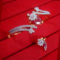 CBU53 Super Saver Two Items Zircon Studded Ruby Shade Bracelet Ring Combo For Women
