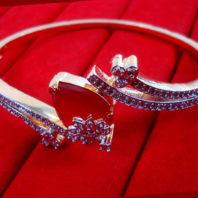 CBU53 Super Saver Two Items Zircon Studded Ruby Shade Bracelet Ring Women