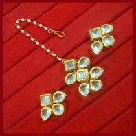KC12, Daphne Ethnic Kundan Carving Earrings With Maang Tikka For Women