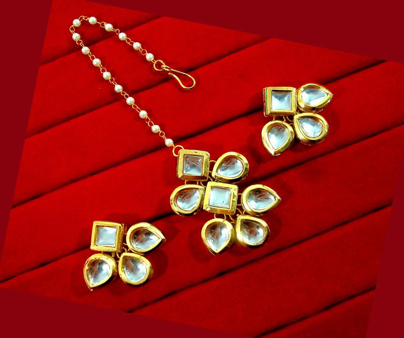 KC12, Daphne Ethnic Kundan Carving Earrings With Maang Tikka For Women-2