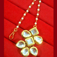 KC12, Daphne Ethnic Kundan Carving Earrings With Maang Tikka For Women-4