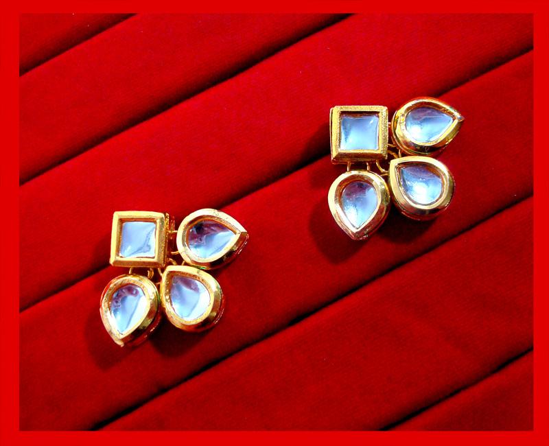 KC12, Daphne Ethnic Kundan Carving Earrings With Maang Tikka For Women-5