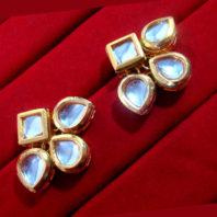 KC12E Daphne Ethnic Kundan Carving Earring For Wedding Special For Women-1
