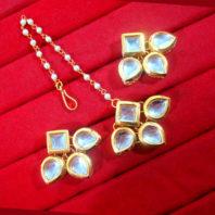 KC13,Daphne Gold Tone Kundan Stone Women Maang Tikka Earring Set For Women