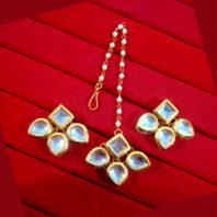 KC13,Daphne Gold Tone Kundan Stone Women Maang Tikka Earring Set For Women -1